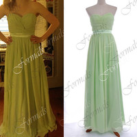 Mint Long Prom Dresses, Floor Length Strapless Chiffon Mint Prom Dresses, Mint Formal Gown, Long Evening Gown, Wedding Party Dresses