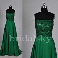 Long Green Beaded Prom Dresses Prom Dresses Party Dresses Homecoming Dresses 2014 New Fashion