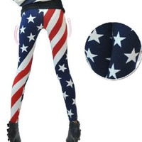 New Fashion Women USA American Flag Stripe Space Star Print Leggings