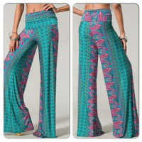 Teal and Magenta Paisley Print Palazzo Pants