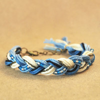 Blue friendship bracelet, braid bracelet with beads and chain, blue bracelet