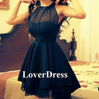 Black Party Dress, Little Black Dress, Black Prom Dress, Short Prom Dress, Solid Color Beam Waist Irregular Hem Chiffon Halter Dress