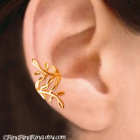 24K Gold Laurel leaf - Nymph Daphne ear cuff earring, non pierced wrap earcuff jewelry, Left or Right