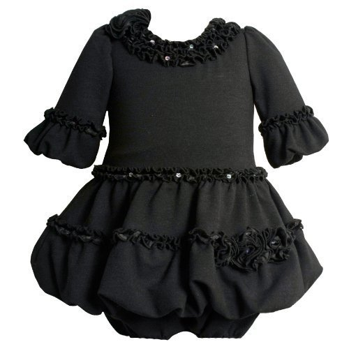 Bonnie Jean Baby/INFANT 12M-24M 2-Piece BLACK SEQUINED CHARMEUSE ROSETTE BELL SLEEVE BUBBLE KNIT Special Occasion Flower Girl Party Dress