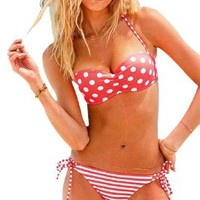 Push up Bikini Polka Dots Bandeau Top Stripe Tie Side Bottom Swimwear Bathing Suit