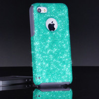 Otterbox iPhone 5c Case Custom Glitter Commuter Wintermint/Grey iPhone 5c Otterbox Sparkly Bling Glitter Case