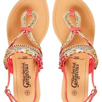 New Look Chiffon Coral Gold Detailed Sandals