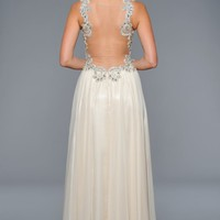Applique Chiffon Gown by Lara Designs