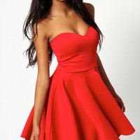 Polly Bandeau Red Skater Dress
