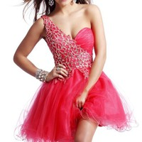 Sunvary 2013 One Shoulder Neckline A-line Short Cocktail Dresses Homecoming Party Dresses with Beading- US Size 4- Water Melon