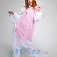 White Cat Animal Onesuit Kigurumi Costume Cotton Adult Pajamas