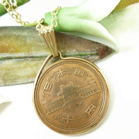 Japanese 10 Yen Coin Pendant Phoenix Hall 1979 Gold Filled Chain | dianesdangles - Jewelry on ArtFire