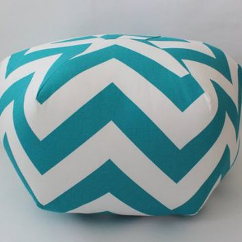 "24"" Pouf Ottoman Floor Pillow Tuquoise Zippy"