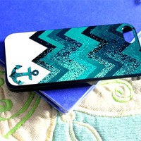 Chevron Sparkly Anchor Sparkle - LZN - iPhone 5 case Black/White case