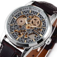 Leather strap watches for men automatic movement watches Mechanical Wrist Watch