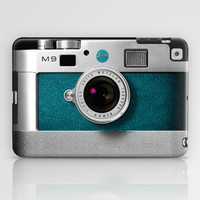 classic retro Blue teal silver Leica M9 Leather camera apple iPad 2, 3, 4 and iPad mini case