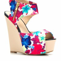 Cut It Out Floral Platform Wedges