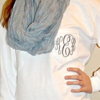 Preppy Monogrammed Long Sleeve Pocket Tshirt Tee Personalied Teen Bridesmaid gift