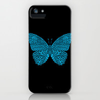 Blue Butterfly iPhone & iPod Case by Ornaart