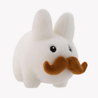Happy Labbit White Stache Plush Toy 7 inch by Frank Kozik | Kidrobot