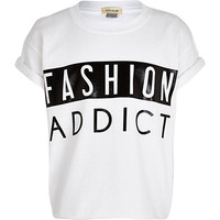 Girls white gloss fashion addict t-shirt - t-shirts - t-shirts / tanks / tops - girls