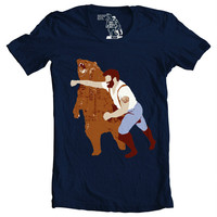 tshirt, tee, Man Punching Bear Men's t-shirt, sizes S-XXL available