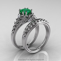 Classic French 14K White Gold 1.0 Ct Princess Emerald Diamond Lace Engagement Ring Wedding Band Set R175PS-14KWGDEM