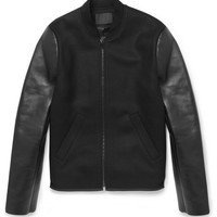 Alexander Wang - Bonded-Leather and Wool-Blend Bomber Jacket | MR PORTER