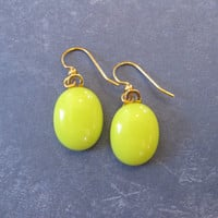 Yellow Earrings, Dangle Earrings, Fused Glass Jewelry, Yellow Jewelry on Etsy - Karlee - 2255 -4