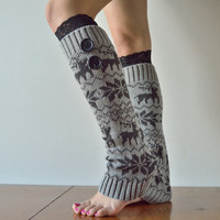 Gray knitted Leg Warmers with Black Lace Trim and big cute buttons