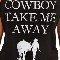 SALE-BlackWhite Cowboy Take Me Away Top