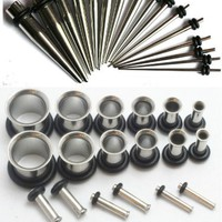 INCLUDES 16g - 38pc Ear Stretching Kit 316L Surgical Steel Tunnels AND Tapers 00g 0g 2g 4g 6g 8g 10g 12g 14g 16g Gauges Plugs PLUS Instructions