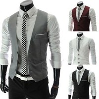 White Black Red Gray Luxury Men Fitted Suits Tuxedo Dress Vests Waistcoat