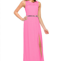 Rent Sheer Lace Back Bridesmaid Dress in Fuchsia | rent the dress