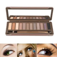 2014 New Arrival Sexy 12 Colors Neutral Nude Eyeshadow Palette For Eye Beauty (A Mirror Inside+A Dual Brush)