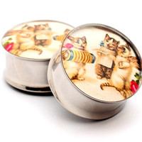 Vintage Musical Cats Picture Plugs gauges - 16g, 14g, 12g, 10g, 8g, 6g, 4g, 2g, 0g, 00g, 7/16, 1/2, 9/16, 5/8, 3/4, 7/8, 1 inch