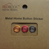 Square Aluminum Metal Home Button Sticker for iPhone, iPad, Ipad Mini, Ipod Touch 3 Pieces Gold Red Gray