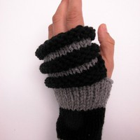 Black and Charcoal Gray Arm Warmers / Fingerless Gloves by KitMit