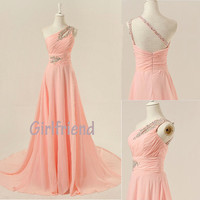 Charming light pink one-shoulder handmade sweep train prom dress, graduation dress, evening dress