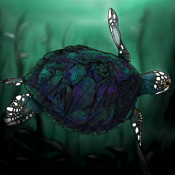Sea Turtle glossy profession 8.5 X 11 art print by BRGproductions