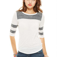 Athletic Stripe Burnout Short-Sleeve