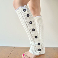 Ivory Cable knitted Leg Warmers, Lace trim Button Up Leg Warmers 10% off Wanelo Promo Code: WANELO10