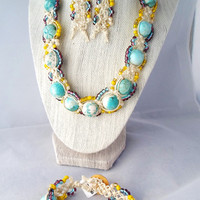 Turquoise and Yellow Necklace Earring Bracelet Hemp Jewelry Set