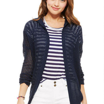Hooded Open Stitch Cardigan -