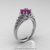 Classic French 14K White Gold 1.0 Ct Princess Amethyst Diamond Lace Engagement Ring or Wedding Ring R175P-14KWGDAM