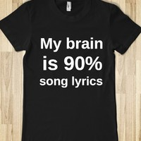 MY BRAIN IS 90% SONG LYRICS