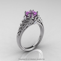 Classic French 14K White Gold 1.0 Ct Princess Lilac Amethyst Diamond Lace Engagement Ring or Wedding Ring R175P-14KWGDLAM
