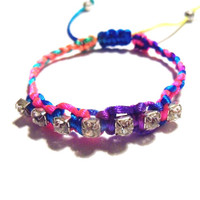 Braided Rhinestone Rainbow Satin Bracelet