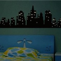 Glow-In-The-Dark City Image Design PVC Wall Decal Stickers (120 x 30 cm)
