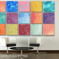 Huge Corporate abstract Wall Art, - 15 panel ORIGINAL Abstract Painting - Blue, Red, Orange, Yellow, burgundy, Pink, Green, purple, Aqua